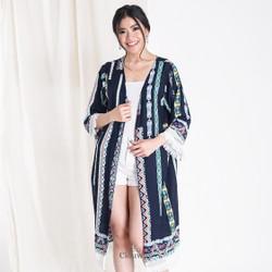 Clouwny - Nusa Boho Outer - Outer Tunik Wanita - Outwear Wanita - Biru