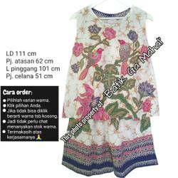 Batik set atasan tanpa lengan & celana pendek merk Bunga Siantan, adem