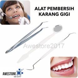 1Set Alat Pembersih Karang Gigi Dental Mirror Stainless Tartar Temover