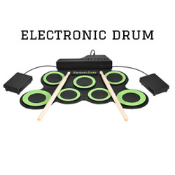 Ammoon Electronic Digital Drum Kit 7 Pads Roll Up USB Power - Green