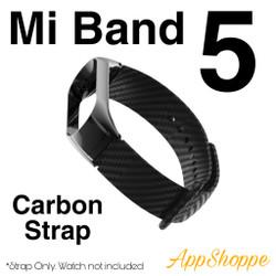 Xiaomi Mi Band 5 Replacement Metal Frame Carbon Fiber Strap Wristband