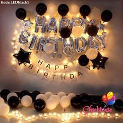 Set paket dekorasi balon ultah birthday ulang tahun fancy LED black