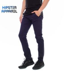 Hipster celana panjang chino warna navy
