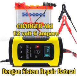 Smart Charger Aki Mobil dan Motor 12v 6a dengan sistem repair baterai