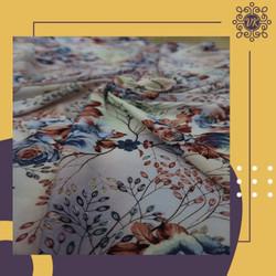 Kain rayon viscose motif kembang warna warni