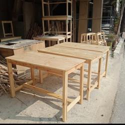 meja lestoran meja serba guna bahan kayu jati Belanda finising natural