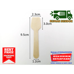 Sendok Kotak Kecil Ice Cream Dessert Disposable Wooden Square Spoon