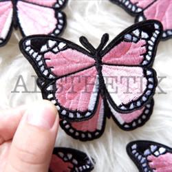 Iron Patch Bordir Butterfly Kupu Kupu Emblem Sticker Baju Pink