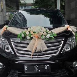 BUKET BUNGA MOBIL PENGANTIN, BUNGA PALSU, untuk hias mobil pengantin - Orange