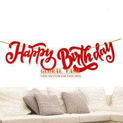 banner happy birthday latin merah / bunting flag hbd latin cutting 2