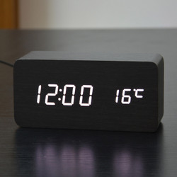 Jam Meja Weker Beker Kayu LED Digital Pintar / Smart Wood Alarm Clock
