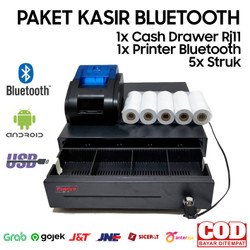PAKET ALAT KASIR ANDROID BLUETOOTH (CASH DRAWER+PRINTER+KERTAS)