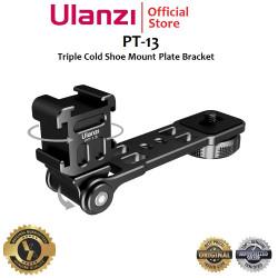 ULANZI PT-13 Triple Cold Shoe Mount Plate Bracket for MIC / LED etc.