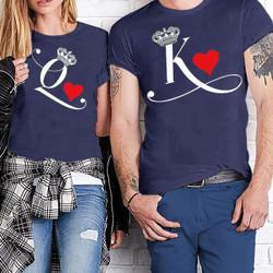 HN - Baju Kaos Couple Lengan Pendek Motif Queen King