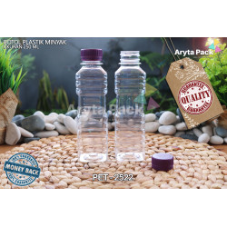 PET2522. Botol plastik pet 250ml minyak goreng tutup LN ungu