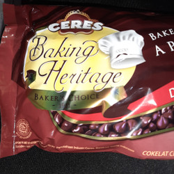 CERES HERITAGE CHIP DARK 250gr, coklat chip dark pengiriman instant