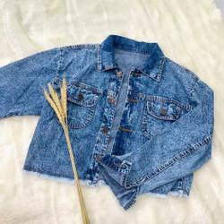 jaket jeans nirina acid crop best seller jacket