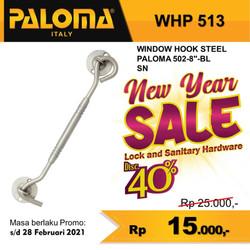 "Window Hook PALOMA WHP 513 STEEL 502-8"" | Hak Angin Penahan Jendela"