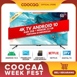 COOCAA 50 inch 4K Smart TV - TV Android 10.0 (Pertama di Indonesia)