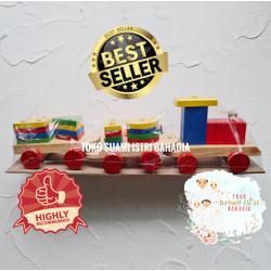 Mainan Edukasi Kayu MDF Kereta Balok Bentuk Geometri Full Colour