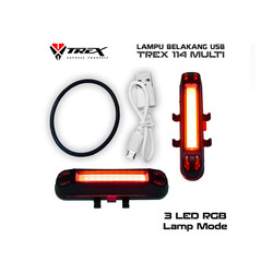 Lampu Sepeda USB Trex 7 Mode , 3 Light