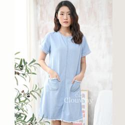Clouwny - Edeline Denim dress - dress denim wanita - fashion wanita