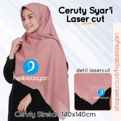 Hijab Jilbab Syar'i Umama Ceruty Syari Laser cut Segiempat Jumbo