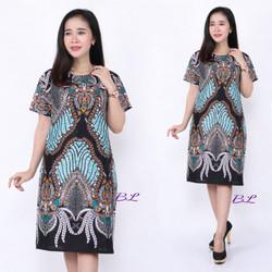 Promo Batik Dress Motif Madu Biru