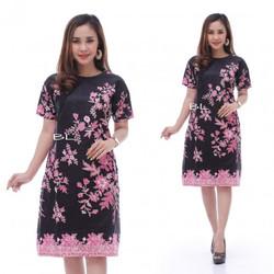 Promo Batik Dress Motif Sakura Pink
