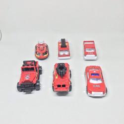 Mainan mobil-mobilan metal diecast kendaraan pemadam kebakaran (6 pcs)