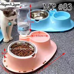 Double Bowl Stainless + Bottle Tempat Makan Minum Anjing Kucing Hewan