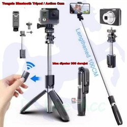 L02 Selfie Stick Tongsis Tripod 4 in 1 with Wireless Remote Shutter - Hitam