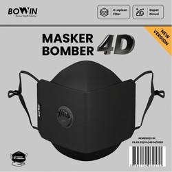 Bowin Masker Bomber - 2x Anti Bakteri & Percikan (Masker Kain 4 Lapis)