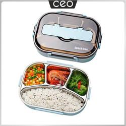 CEO Tempat Makan Stainless Steel Lunch Box Stainless Steel Kotak Makan - Varian 3 Sekat, Merah Muda