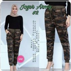 celana jogger wanita army/celana legging wanita/celana senam import - Cokelat