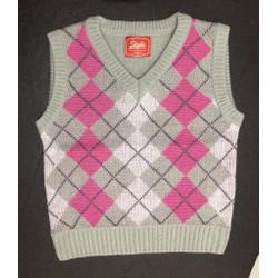 Rompi Rajut Wanita - Vest Argyle - Merah Muda, all size