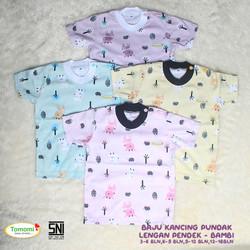 Setelan Baju Bayi Kancing Pundak & Celana Panjang Motif Bambi