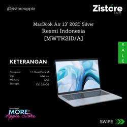 Apple MacBook Air (2020)- 13.3inch, 1.1GHZ, 8GB RAM, 256GB SSD, Silver