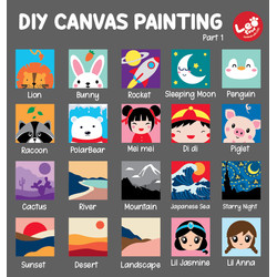 DIY melukis kanvas anak cat lukis canvas painting coloring mewarnai - rabbit