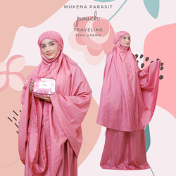 Mukena Dewasa Parasit Jumbo Pouch Traveling - Pink Darma