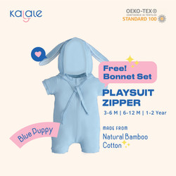 Playsuit Bonnet Set (Romper / Jumper Anak dan Bayi) - Kalale - Blue