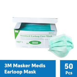 3M 1827i Earloop Surgical Mask Masker Medis 3 Ply - 1 Box [50 Masker]