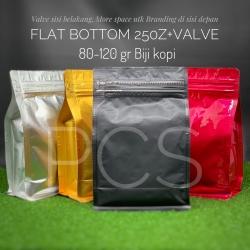 Flat bottom pouch + Side Zip + valve 120 gr biji kopi Kemasan Alu foil