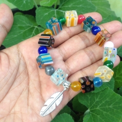 Gelang - Batu Indian Agate - Tiger Eye - Italian Candy