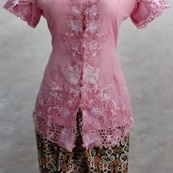 Kebaya encim lengan pendek Relia dusty pink