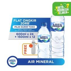 AQUA Air Mineral 24x600ml & 12x1500ml FREE Water Carrier