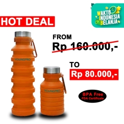 BOTOL MINUM LIPAT SILIKON FOLDING SILICONE BOTTLE TRAVEL OUTDOOR SPORT