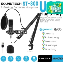 SOUNDTECH Microphone Condenser For Recording Streaming Podcast