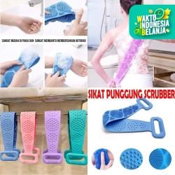Alat sikat punggung silikon mandi penggosok pembersih scrubber 2 sisi - Biru