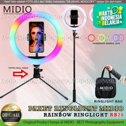 Ring Light Rainbow Midio RB26 Plus Tongsis Ring Light RGB Video LED